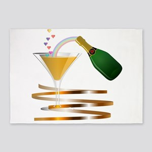 Champagne Party Celebration 5'x7'Area Rug
