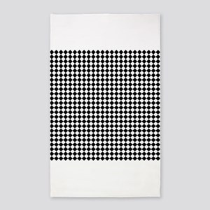 Vintage Black and White Checkered 3'x5' Area Rug