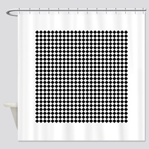 Vintage Black and White Checkered Shower Curtain