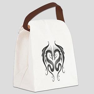 Dark Twin Tribal Dragons Canvas Lunch Bag