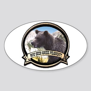Can you skin Griz bear hunter Oval Sticker