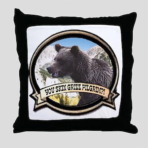 Can you skin Griz bear hunter Throw Pillow