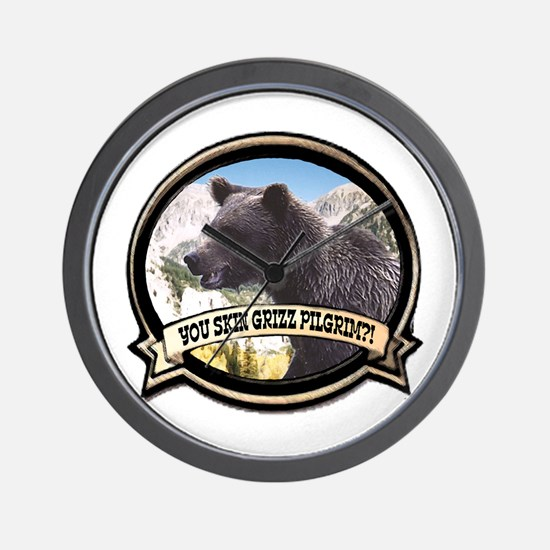 Can you skin Griz bear hunter Wall Clock