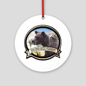 Can you skin Griz bear hunter Ornament (Round)
