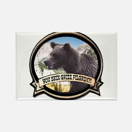 Can you skin Griz bear hunter Rectangle Magnet (10
