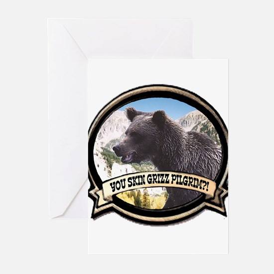 Can you skin Griz bear hunter Greeting Cards (Pack