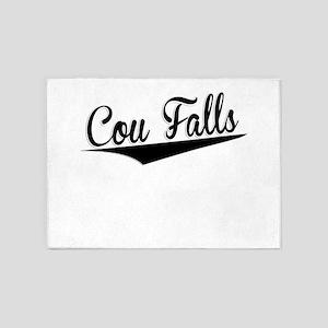 Cou Falls, Retro, 5'x7'Area Rug