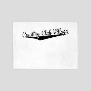 Country Club Village, Retro, 5'x7'Area Rug
