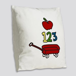School Wagon Burlap Throw Pillow