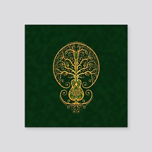 Green and Yellow Guitar Tree of Life Sticker