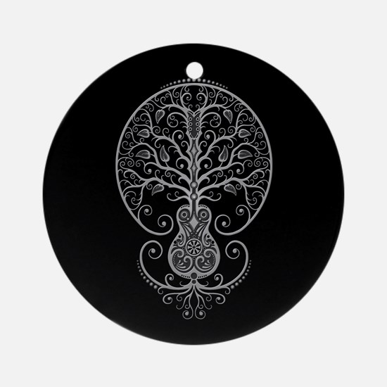 Gray Guitar Tree of Life on Black Ornament (Round)