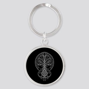 Gray Guitar Tree of Life on Black Keychains