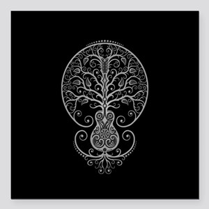 Gray Guitar Tree of Life on Black Square Car Magne
