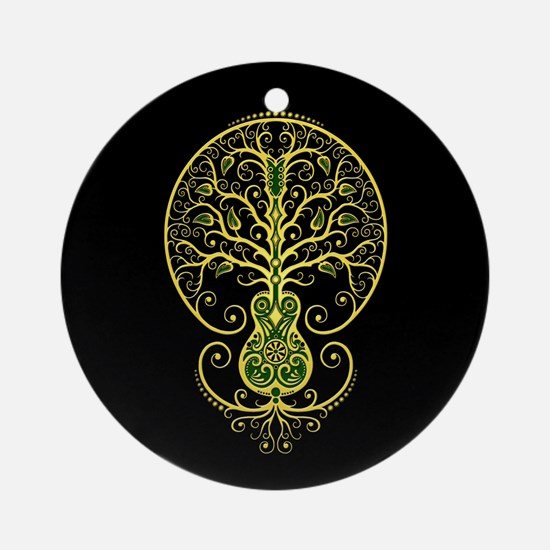 Green Guitar Tree of Life on Black Ornament (Round