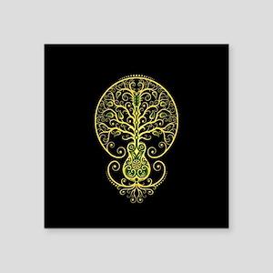 Green Guitar Tree of Life on Black Sticker