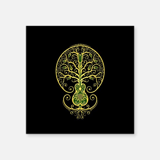 Green Guitar Tree of Life on Black Sticker