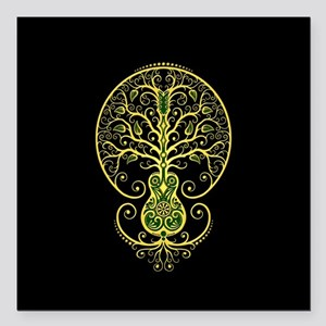 Green Guitar Tree of Life on Black Square Car Magn