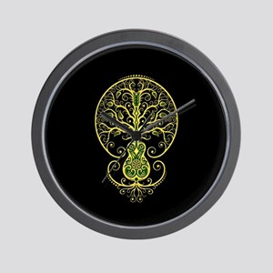Green Guitar Tree of Life on Black Wall Clock