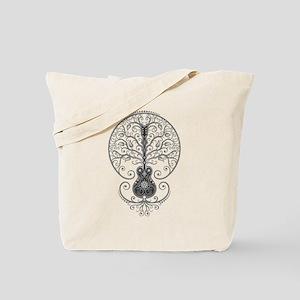 Gray Guitar Tree of Life Tote Bag