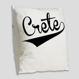 Crete, Retro, Burlap Throw Pillow