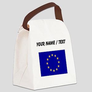 Custom European Union Flag Canvas Lunch Bag