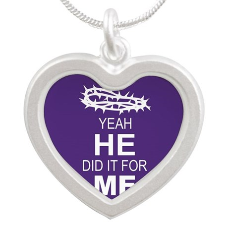 Jesus Died For Me Silver Heart Necklace
