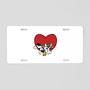 Cow Valentine Aluminum License Plate