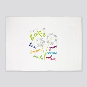 hope love dream smile grow create relax 5'x7'Area