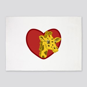Giraffe Valentine 5'x7'Area Rug