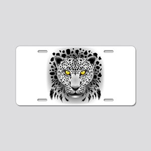 White Leopard with Yellow Eyes Aluminum License Pl