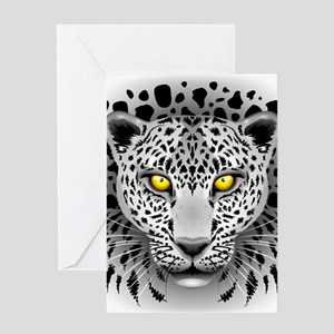White Leopard with Yellow Eyes Greeting Cards