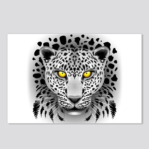 White Leopard with Yellow Eyes Postcards (Package
