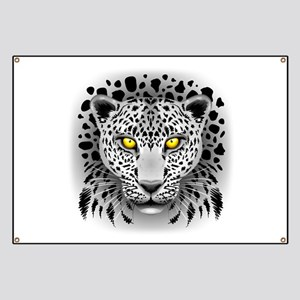 White Leopard with Yellow Eyes Banner