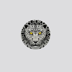 White Leopard with Yellow Eyes Mini Button