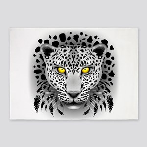 White Leopard with Yellow Eyes 5'x7'Area Rug