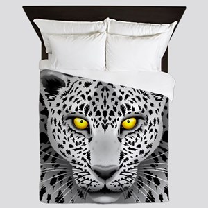 White Leopard with Yellow Eyes Queen Duvet