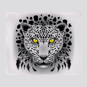 White Leopard with Yellow Eyes Throw Blanket