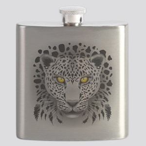 White Leopard with Yellow Eyes Flask