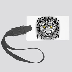 White Leopard with Yellow Eyes Luggage Tag