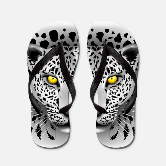 White Leopard with Yellow Eyes Flip Flops