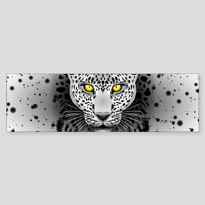 White Leopard with Yellow Eyes Bumper Sticker