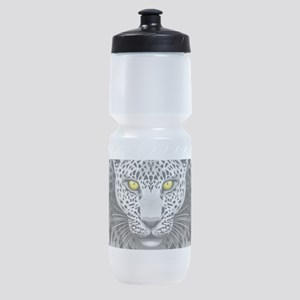 White Leopard with Yellow Eyes Sports Bottle