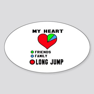 My Heart Friends, Family and Long j Sticker (Oval)
