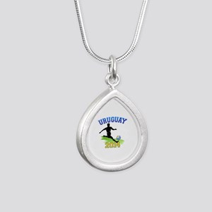 Soccer Uruguay Flag Silver Teardrop Necklace