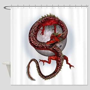 Fantasy Red Eastern Dragon Shower Curtain
