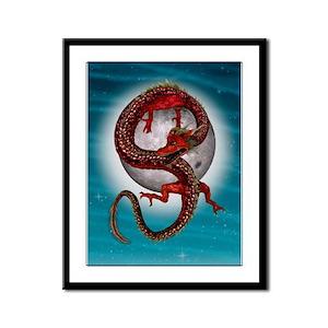 Fantasy Eastern Red Dragon Framed Panel Print