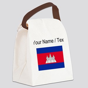 Custom Cambodia Flag Canvas Lunch Bag