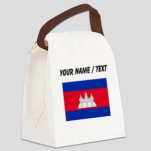 Custom Cambodia Flag Canvas Lunch Bag