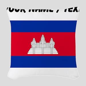 Custom Cambodia Flag Woven Throw Pillow