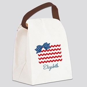 Girly Rick Rack Flag Canvas Lunch Bag